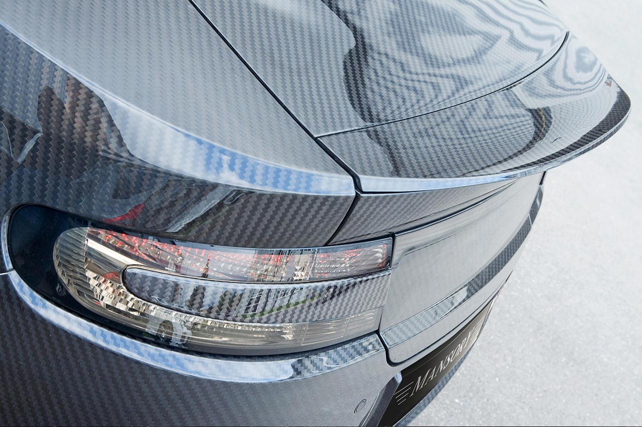 mansory aston martin db9 cyrus rear angle carbon fiber trunk spoiler wing