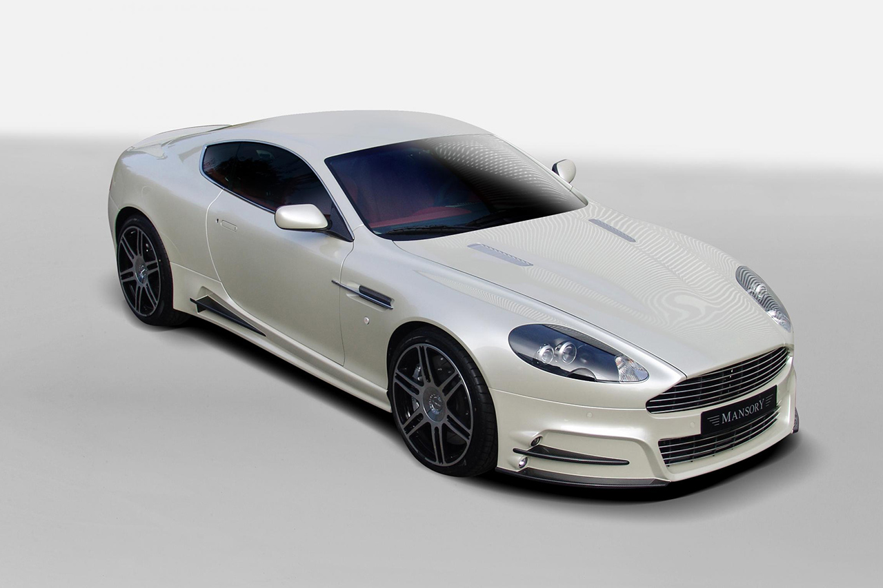 mansory aston martin db9 front angle white front bumper side skirt
