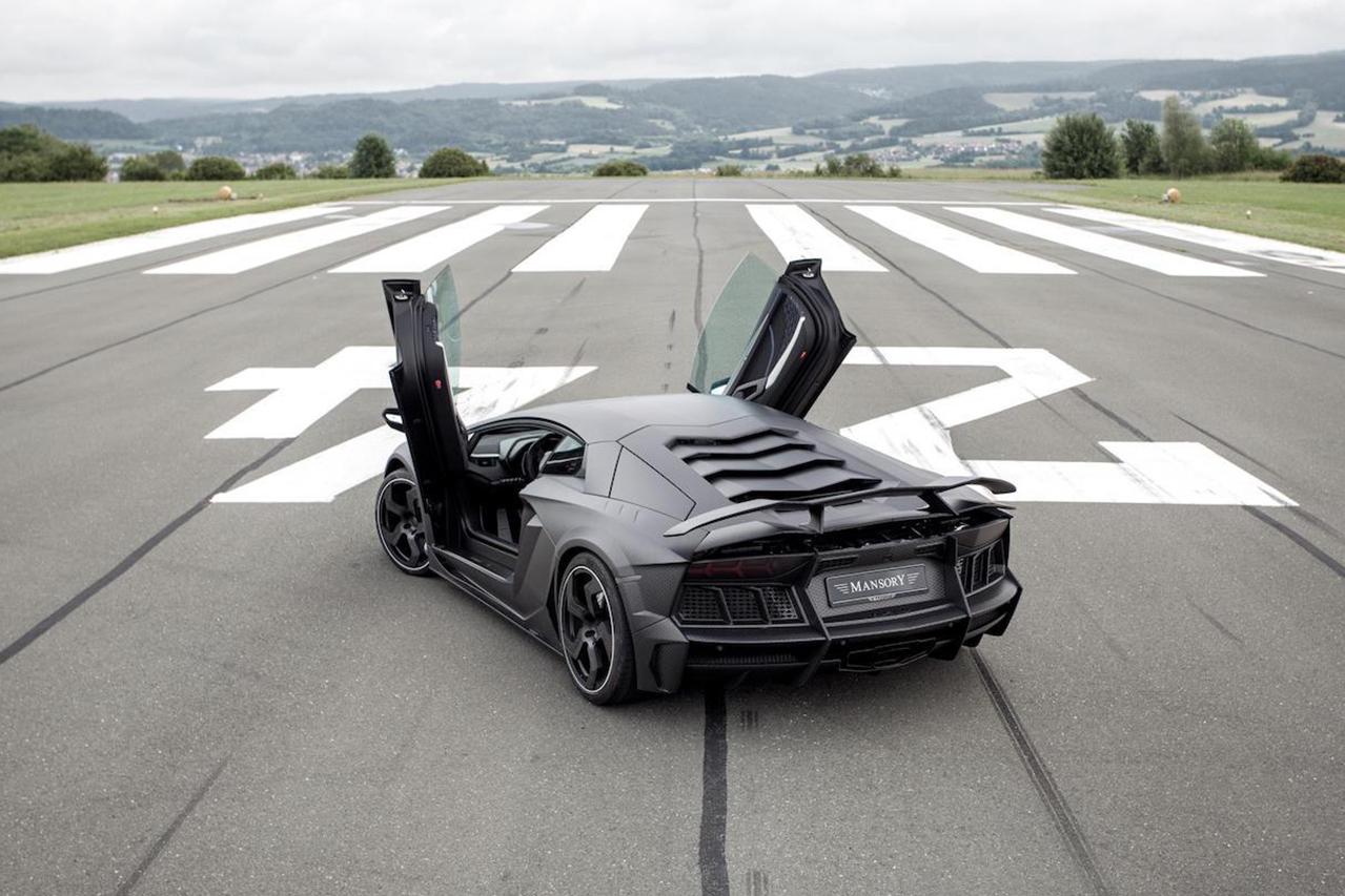 mansory aventador carbonado carbon fiber rear bumper exhaust competition wing spoiler doors open