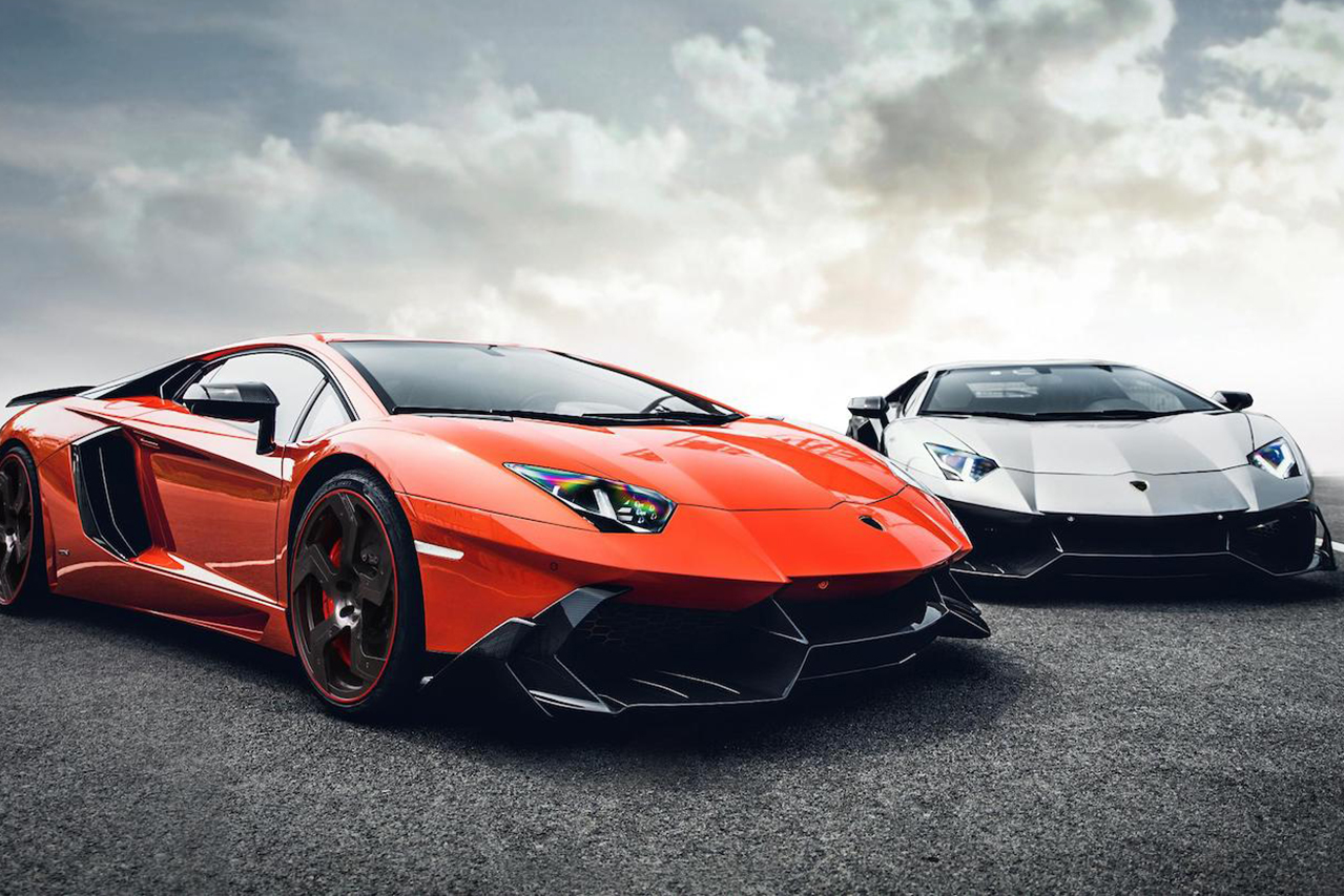 mansory aventador competition carbon fiber top front angle front bumper side skirt air intake fully forged wheel rim grey vs orange