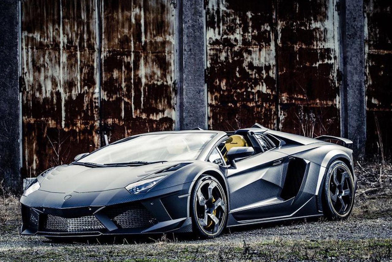 mansory aventador roadster carbonado apertos carbon fiber wide body front bumper fender side skirt fully forged wheel rim parked