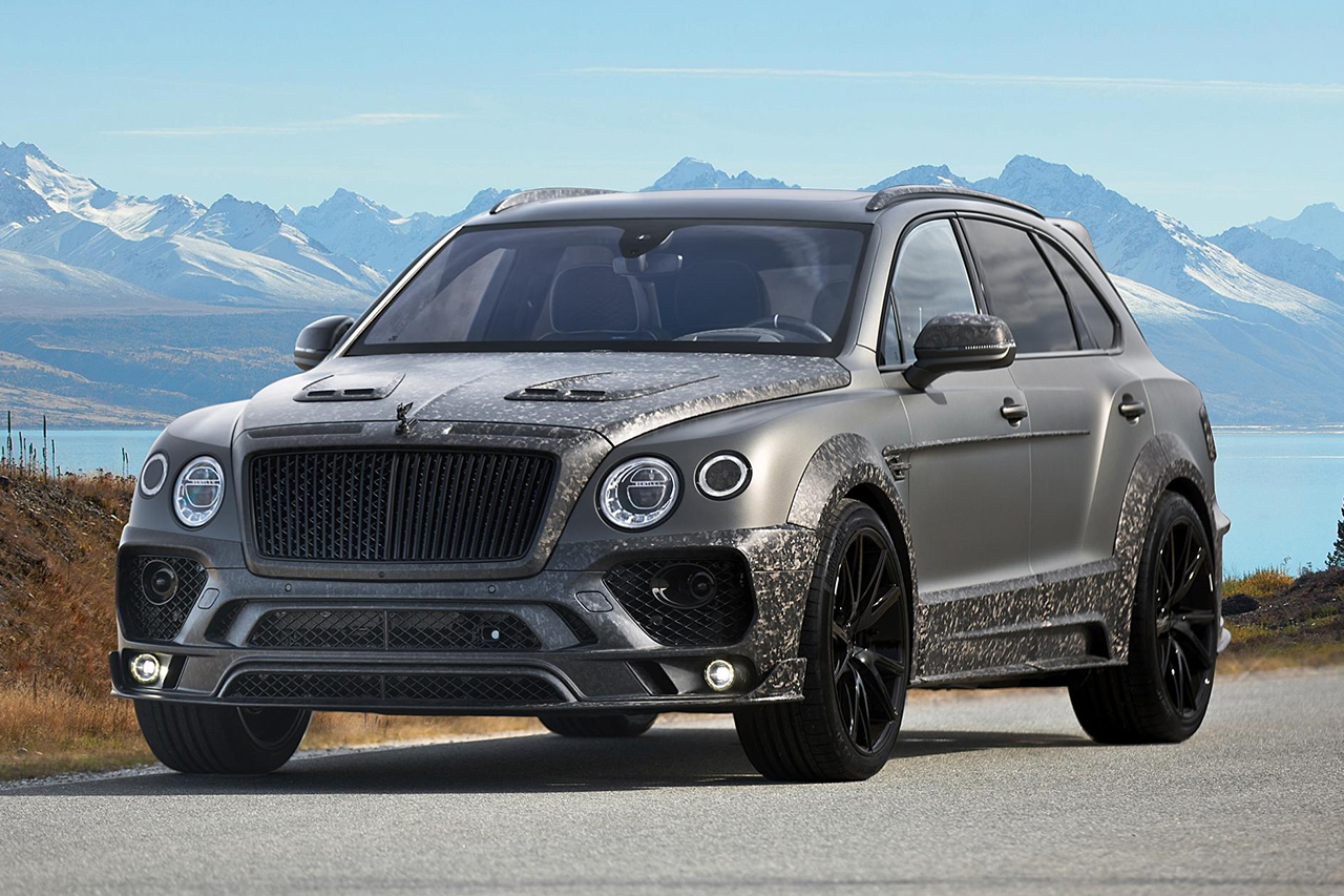 mansory bentley bentayga wide body grey carbon fiber front bumper front grill hood side skirt set over fender y.5 wheel rim 2016 2017 2018