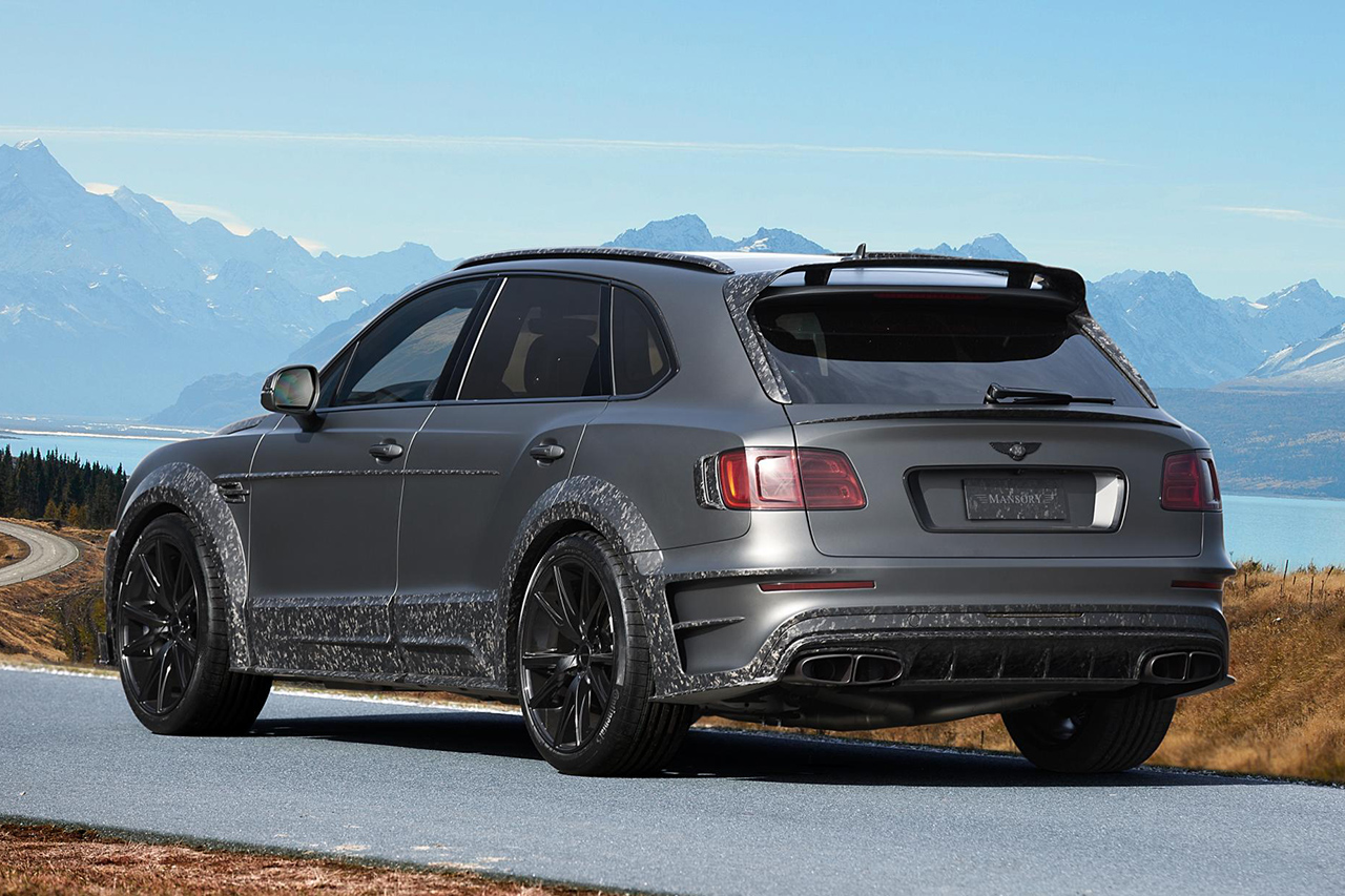 mansory bentley bentayga wide body grey carbon fiber rear diffuser trunk wing spoiler roof wing spoiler side skirt set over fender exhaust system tip y51 wheel rim 2016 2017 2018