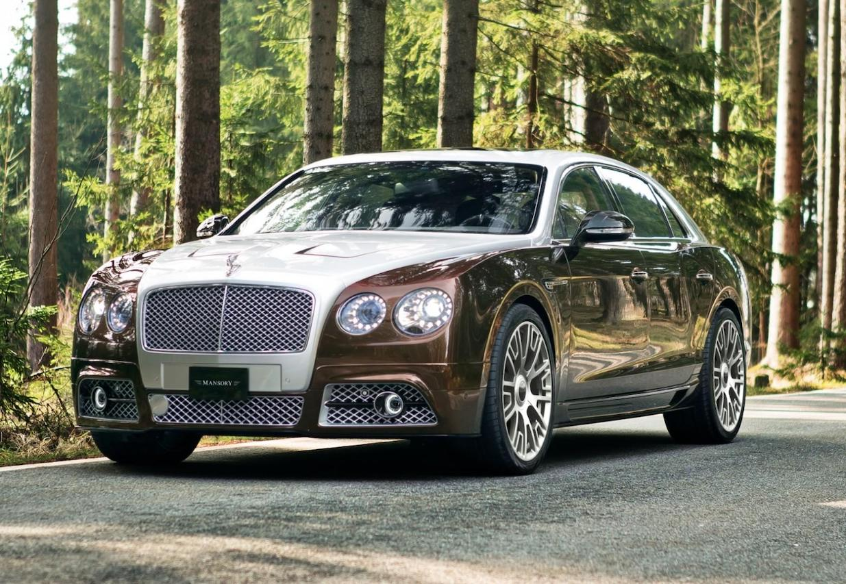 mansory bentley flying spur brown front angle front bumper hood led fog lamp v6 wheel rim