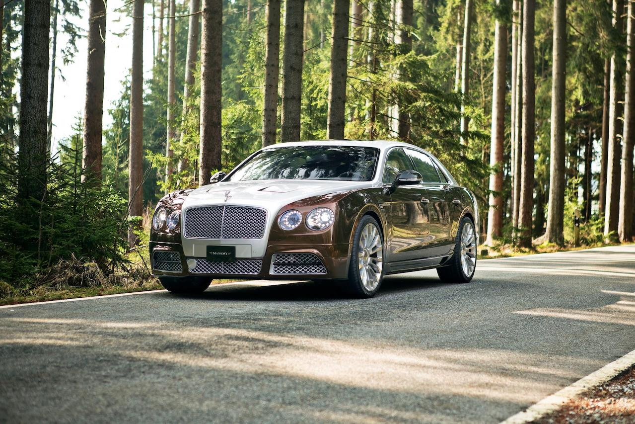 mansory bentley flying spur brown front angle front bumper hood led m8 wheel rim