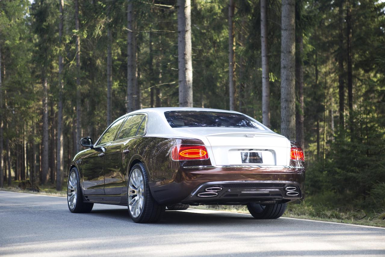 mansory bentley flying spur brown rear bumper rear carbon diffuser exhaust system tip trunk spoiler m8 wheel rim