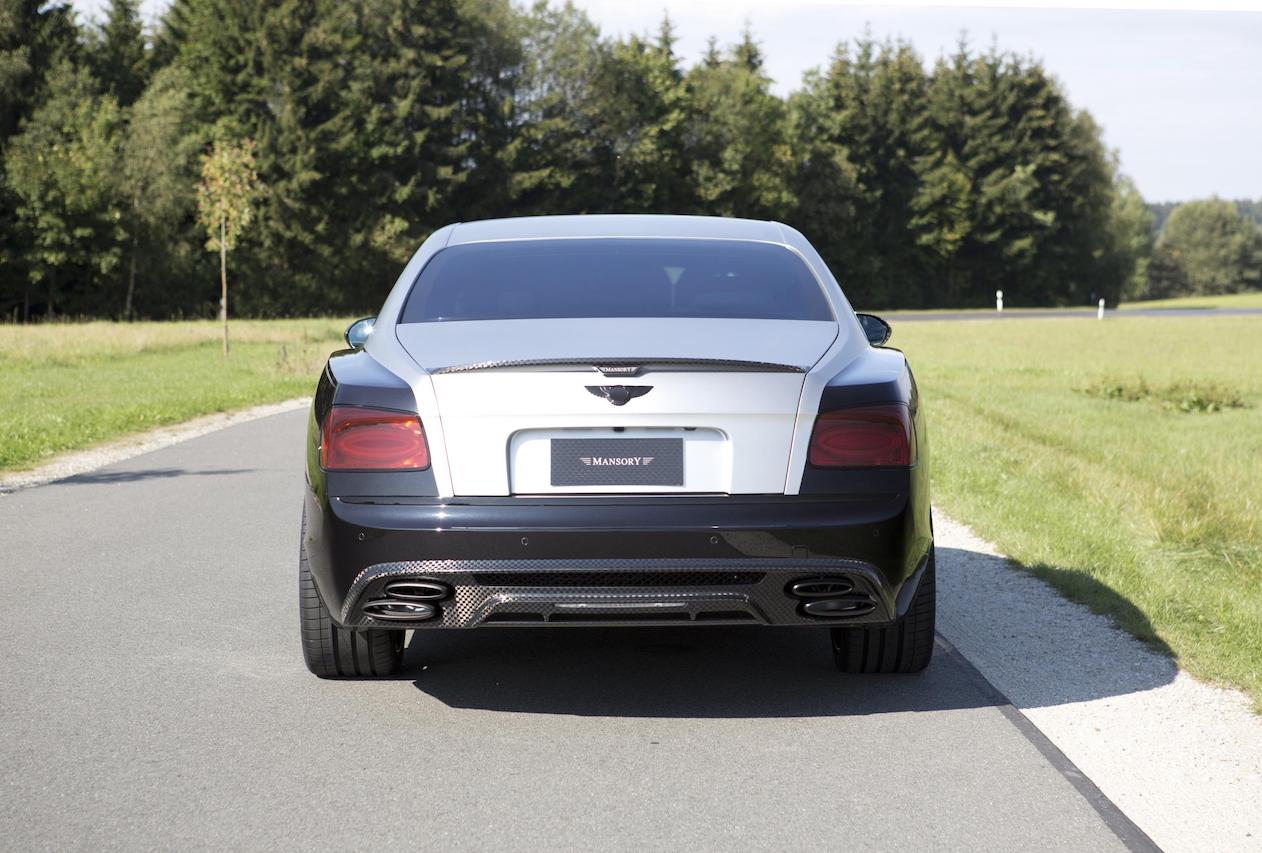 mansory bentley flying spur rear bumper carbon fiber diffuser exhaust system tip trunk spoiler