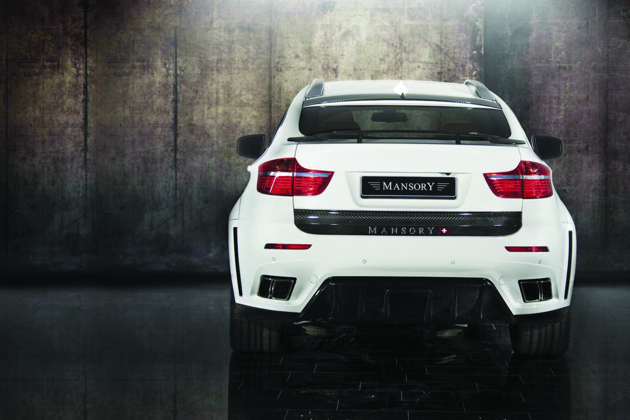 mansory bmw x6 white wide body rear bumper carbon fiber diffuser exhaust trunk wing 2008 2009 2010 2011 2012 2013 2014