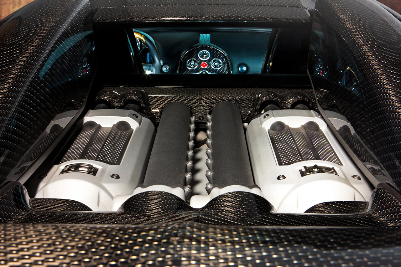 mansory bugatti veyron linea d'oro carbon fiber engine