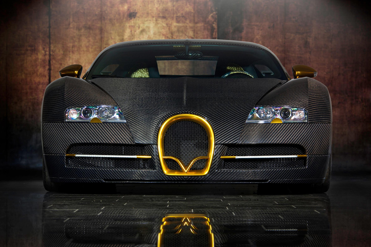 mansory bugatti veyron linea d'oro carbon fiber front