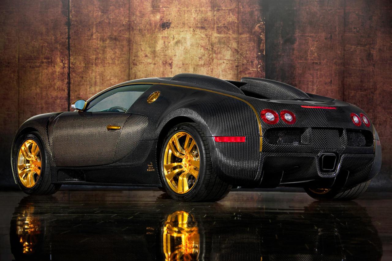 mansory bugatti veyron linea d'oro carbon fiber rear angle