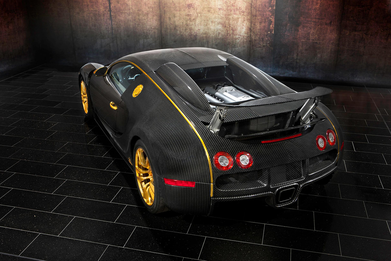 mansory bugatti veyron linea d'oro carbon fiber wing up rear top angle
