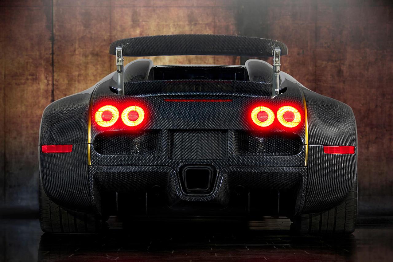 mansory bugatti veyron linea d'oro rear carbon fiber wing up