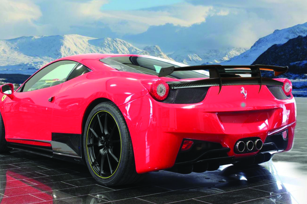 mansory ferrari 458 italia carbon fiber rear bumper diffuser trunk wing spoiler exhaust system side skirt fully forged wheel