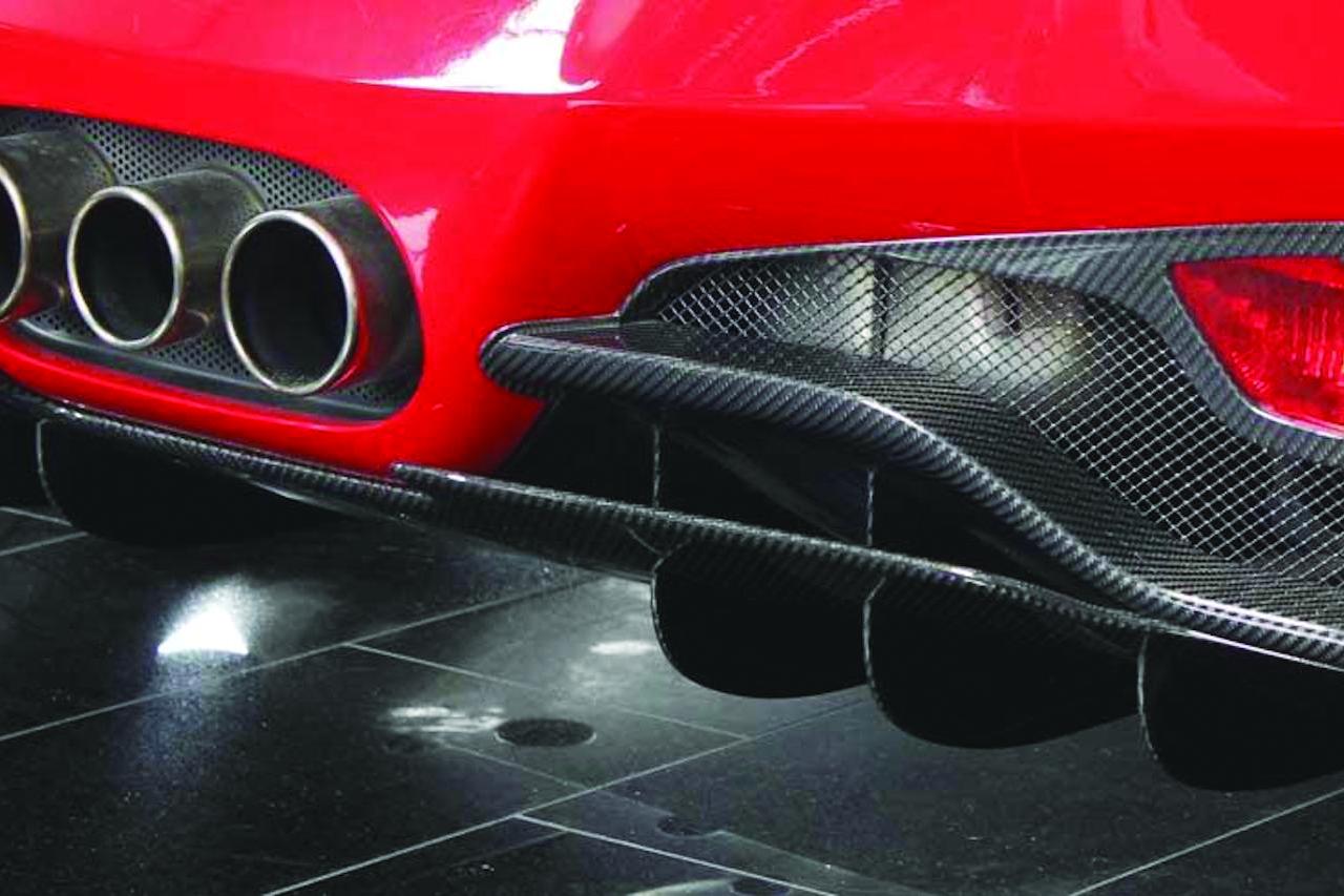 mansory ferrari 458 italia carbon fiber rear bumper diffuser