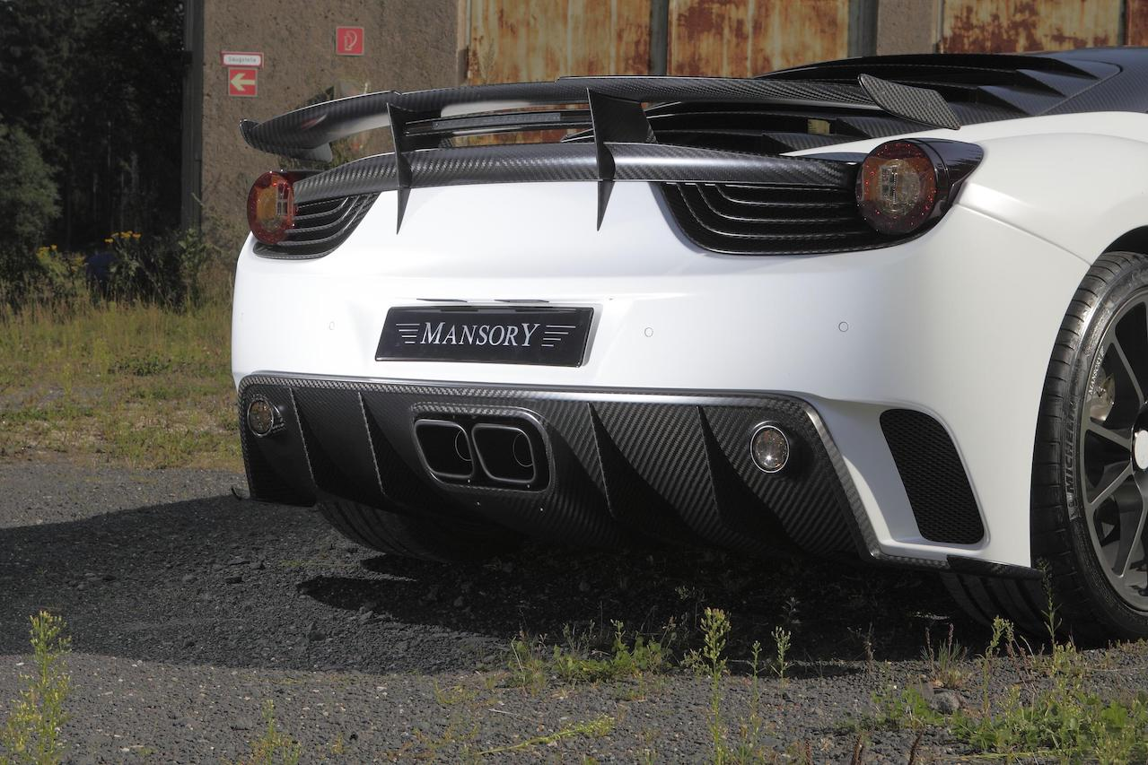 mansory ferrari 458 siracusa white carbon fiber body kit rear bumper diffuser trunk wing exhaust system