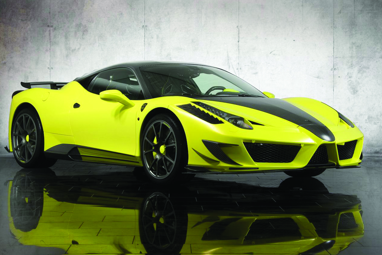 mansory ferrari 458 siracusa yellow carbon fiber body kit front bumper hood side skirt fully forged wheel rim