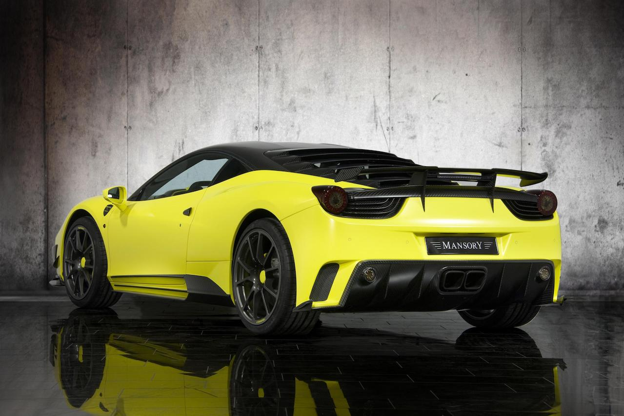 mansory ferrari 458 siracusa yellow carbon fiber body kit rear bumper diffuser exhaust system trunk wing spoiler side skirt fully forged wheel rim
