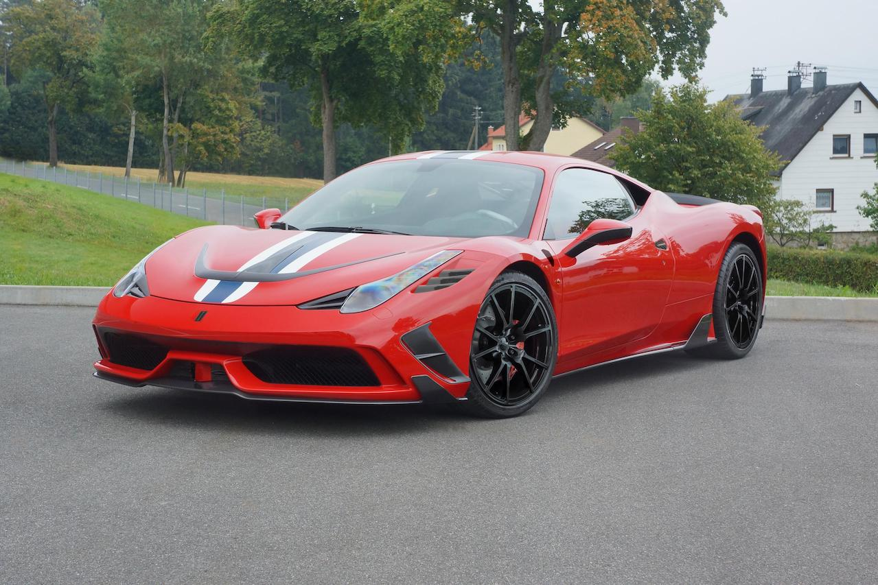 mansory ferrari 458 speciale carbon fiber front bumper lip spoiler side skirt mirror fully forged wheel