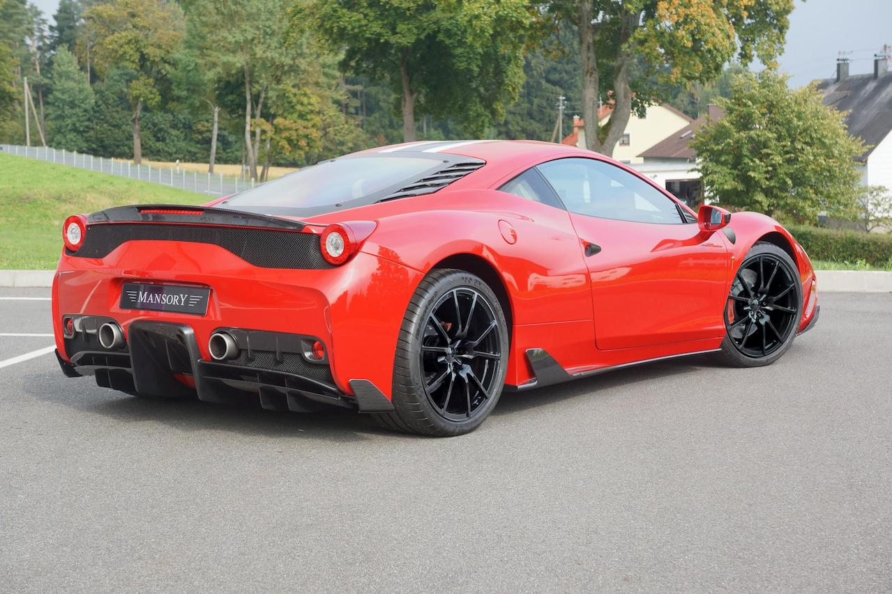 mansory ferrari 458 speciale carbon fiber rear bumper diffuser trunk lip spoiler side skirt mirror fully forged wheel rim