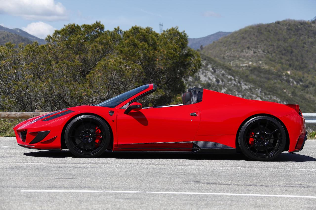mansory ferrari 458 spider siracusa red carbon fiber body kit side skirt fully forged wheel rim