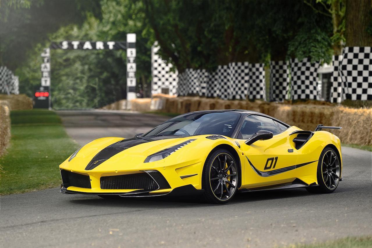 mansory ferrari 488 siracusa 4xx body kit carbon fiber yellow front bumper hood side skirt spoiler wing v10 wheel rim