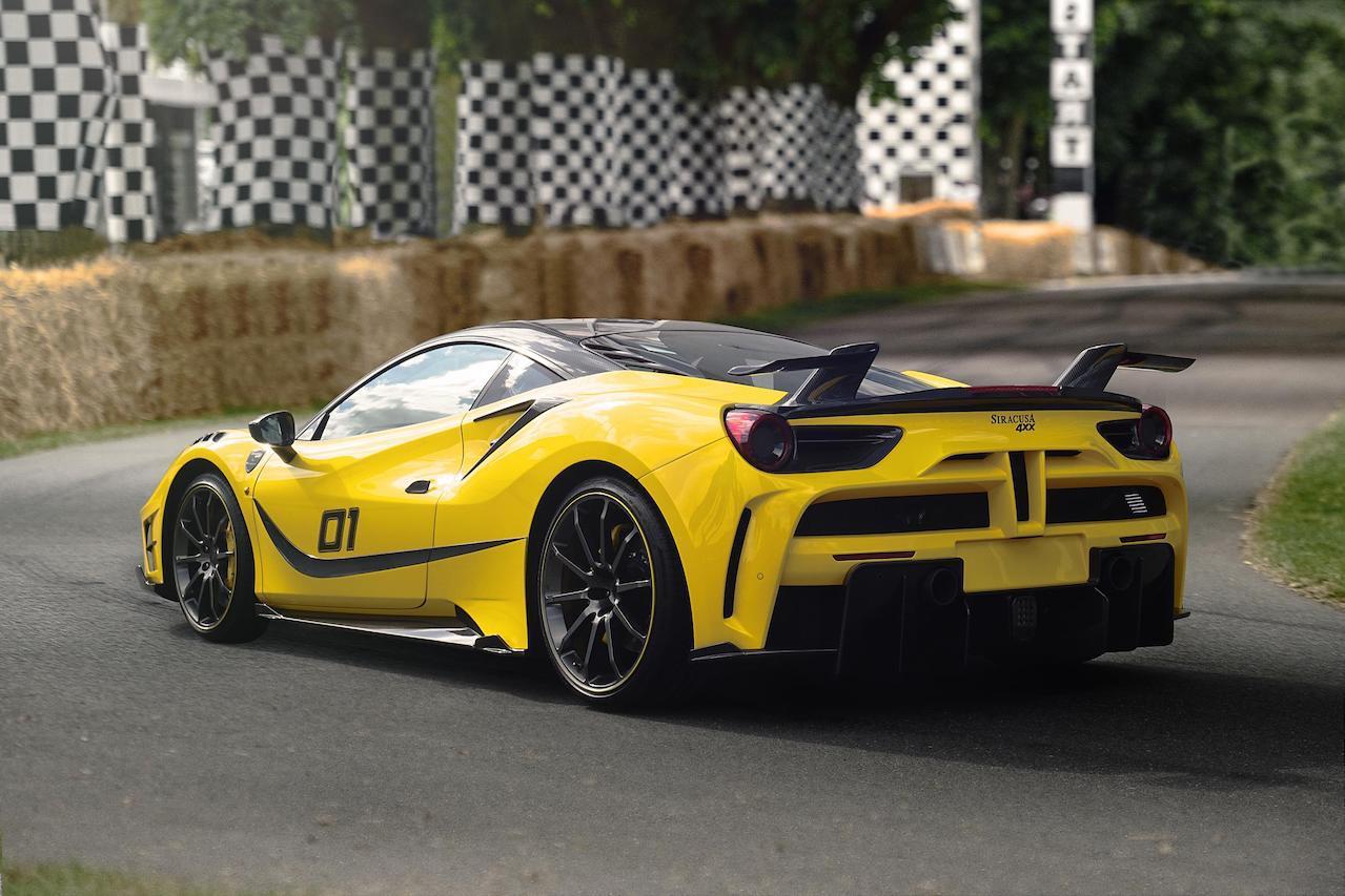 mansory ferrari 488 siracusa 4xx body kit carbon fiber yellow rear bumper diffuser side skirt spoiler wing v10 wheel rim