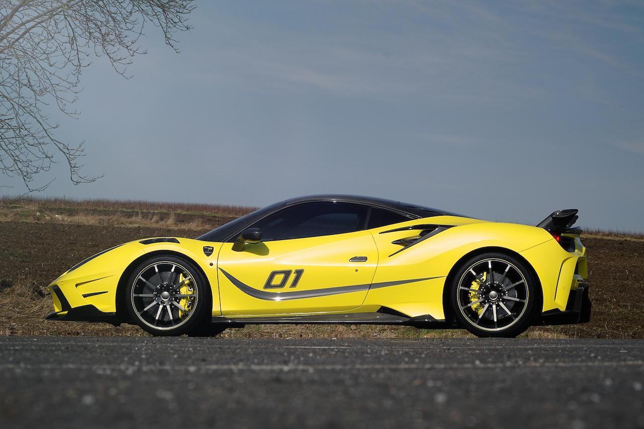 mansory ferrari 488 siracusa 4xx body kit carbon fiber yellow side skirt spoiler wing v10 wheel rim