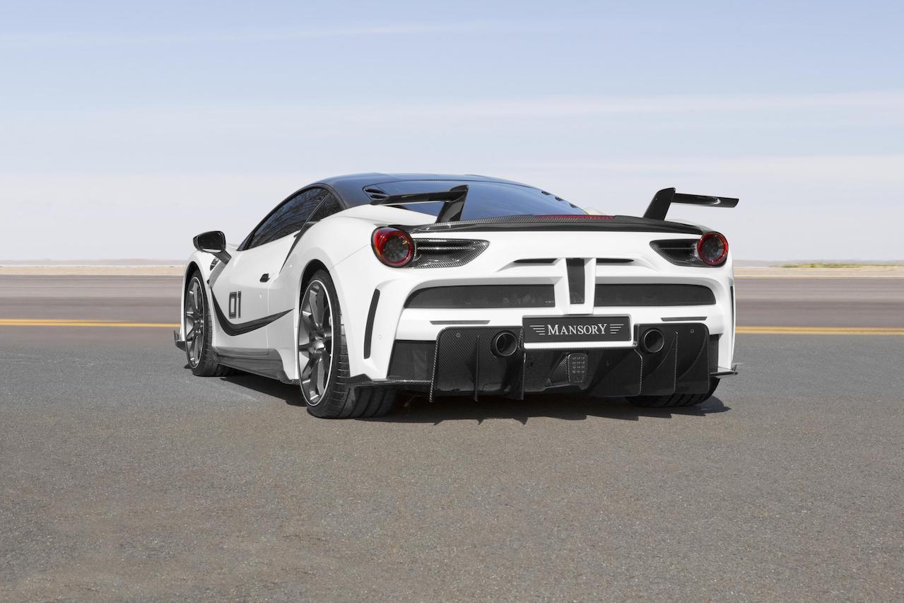 mansory ferrari 488 siracusa 4xx body kit white rear bumper diffuser exhaust side skirt spoiler wing v10 wheel rim