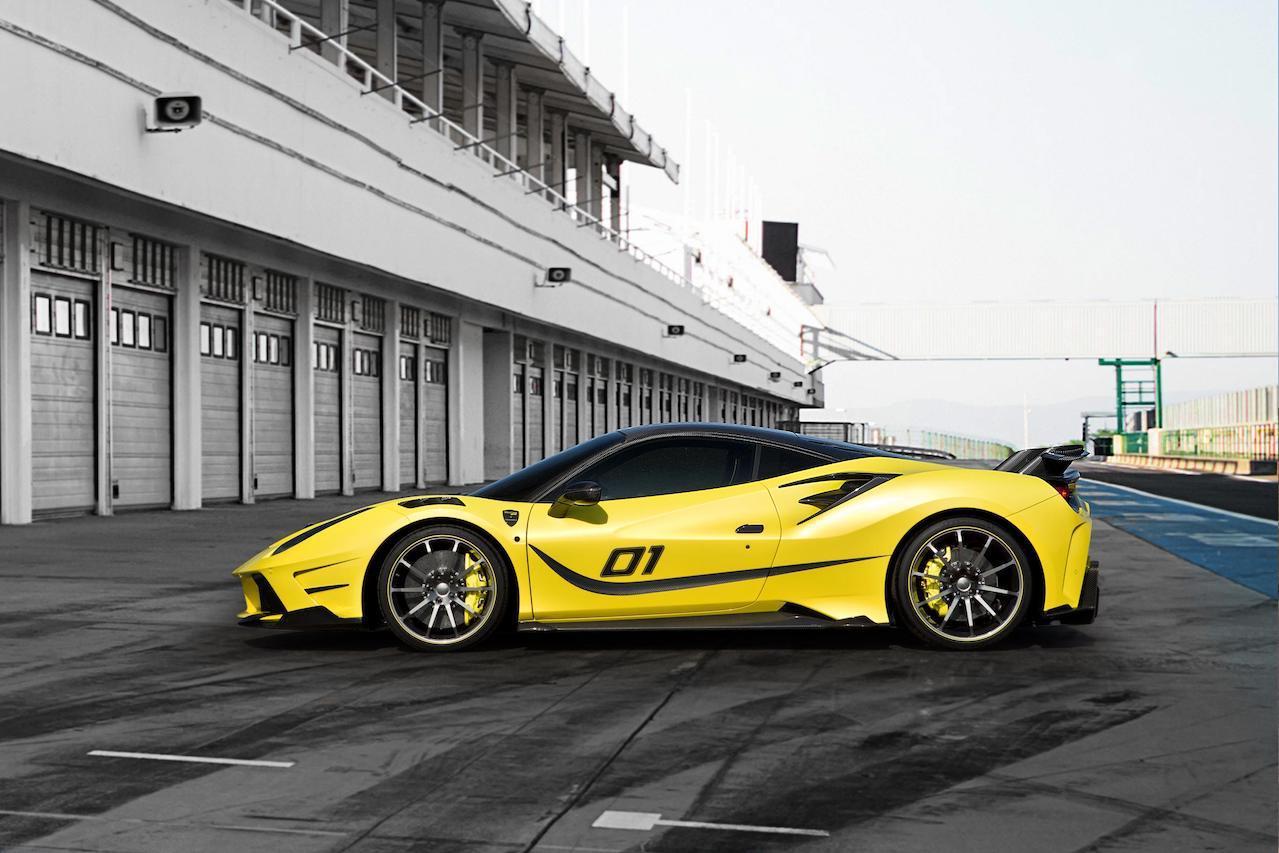 mansory ferrari 488 siracusa 4xx body kit yellow side skirt spoiler wing v10 wheel rim