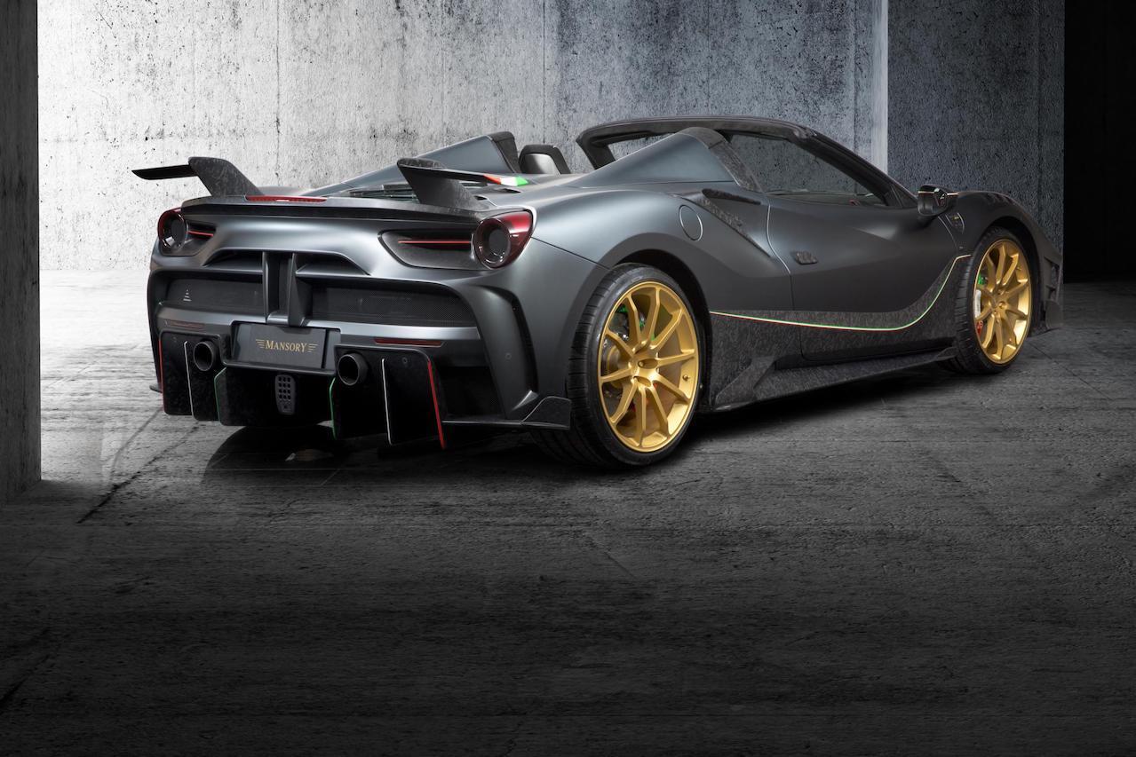 mansory ferrari 488 siracusa 4xx spider body kit carbon fiber rear bumper diffuser wing spoiler exhaust v10 wheel rim