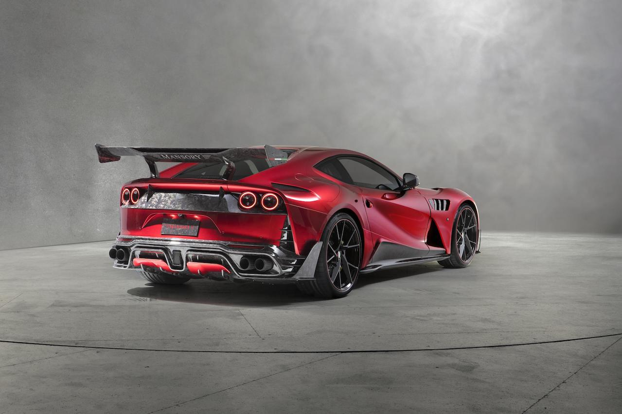 mansory ferrari 812 stallone rear angle body kit carbon fiber rear bumper diffuser exhaust fender side skirt yavin wheel rim