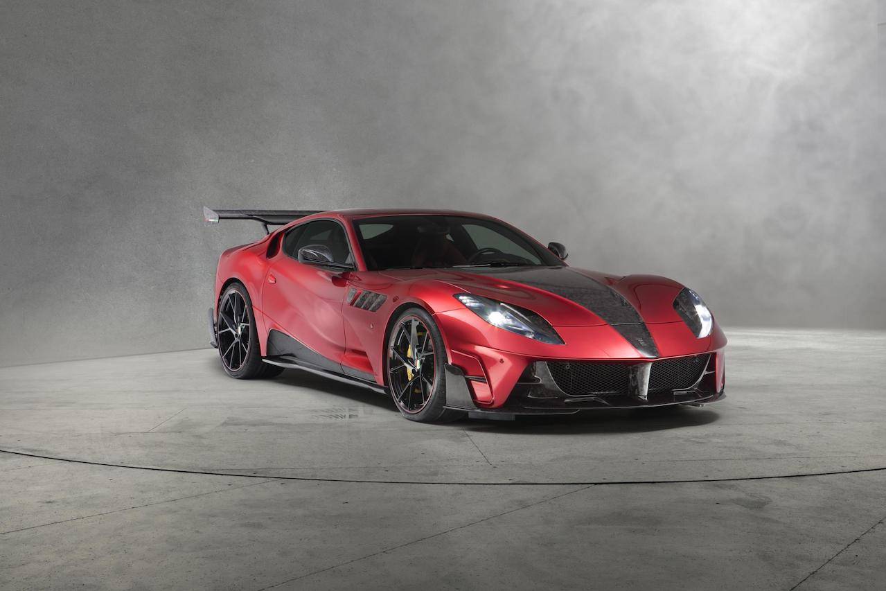 mansory ferrari 812 stallone red front angle body kit carbon fiber front bumper hood fender side skirt yavin wheel rim