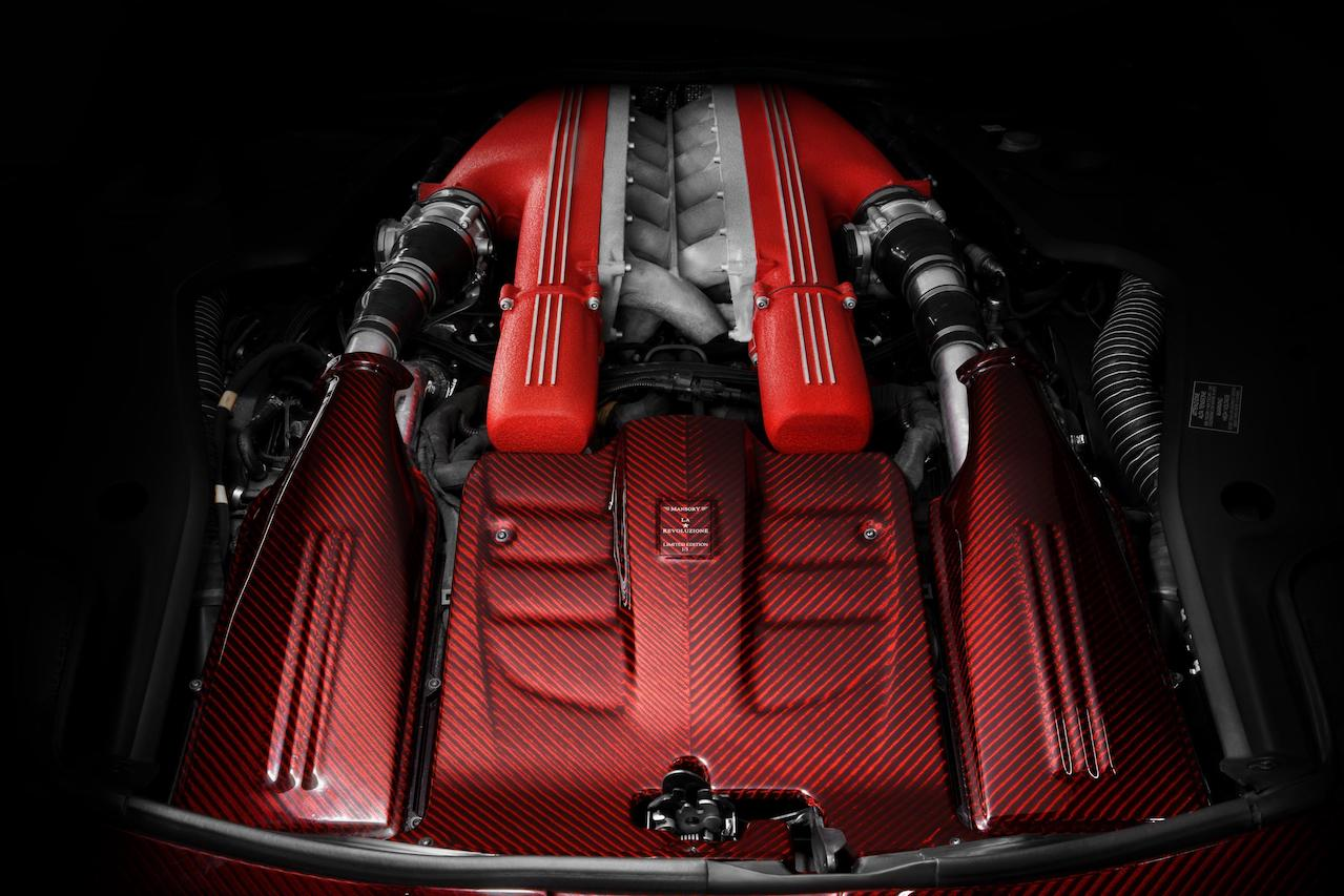 mansory ferrari f12 la revoluzione red carbon fiber engine bay