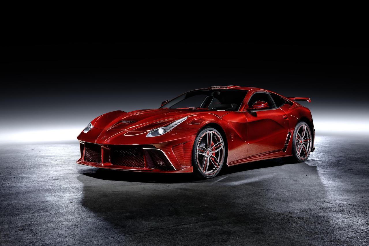 mansory ferrari f12 la revoluzione red carbon fiber front angle wide body front bumper hood fender