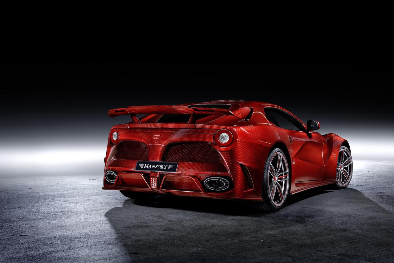 mansory ferrari f12 la revoluzione red carbon fiber rear bumper trunk wing wide body