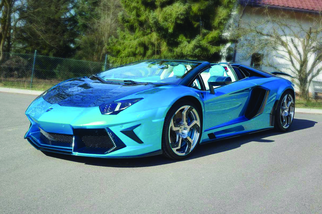 mansory lamborghini aventador roadster main body kit blue carbon fiber front bumper side skirt fully forged wheel
