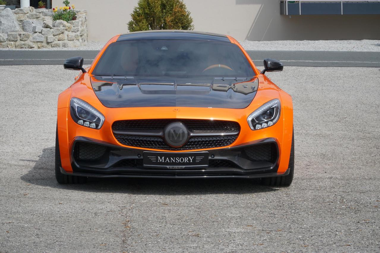 mansory mercedes benz amg gts wide body kit carbon fiber front bumper lip splitter hood
