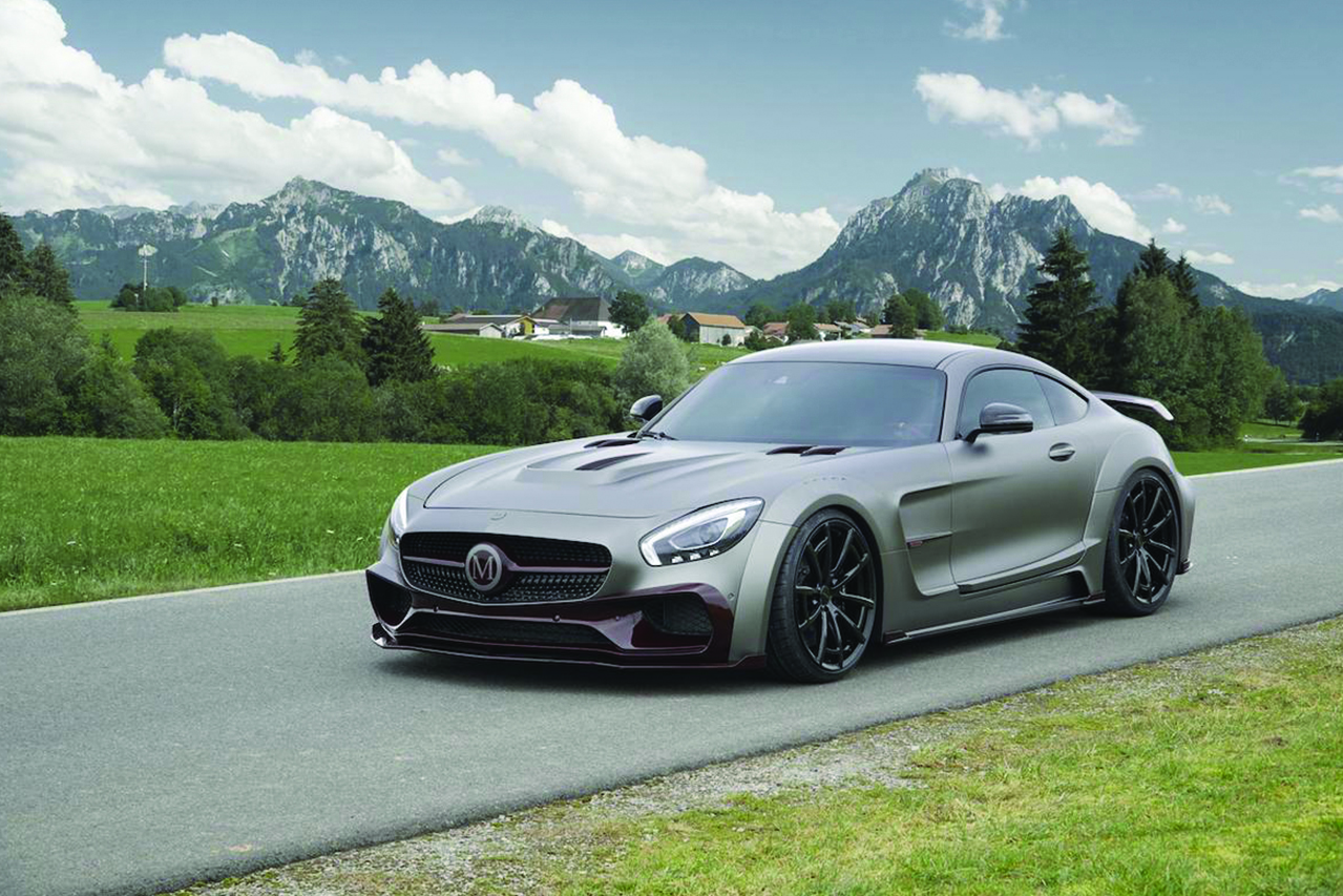 mansory mercedes benz amg gts wide body kit carbon fiber front bumper lip splitter wide over fender hood side skirt spider wheel rim angle