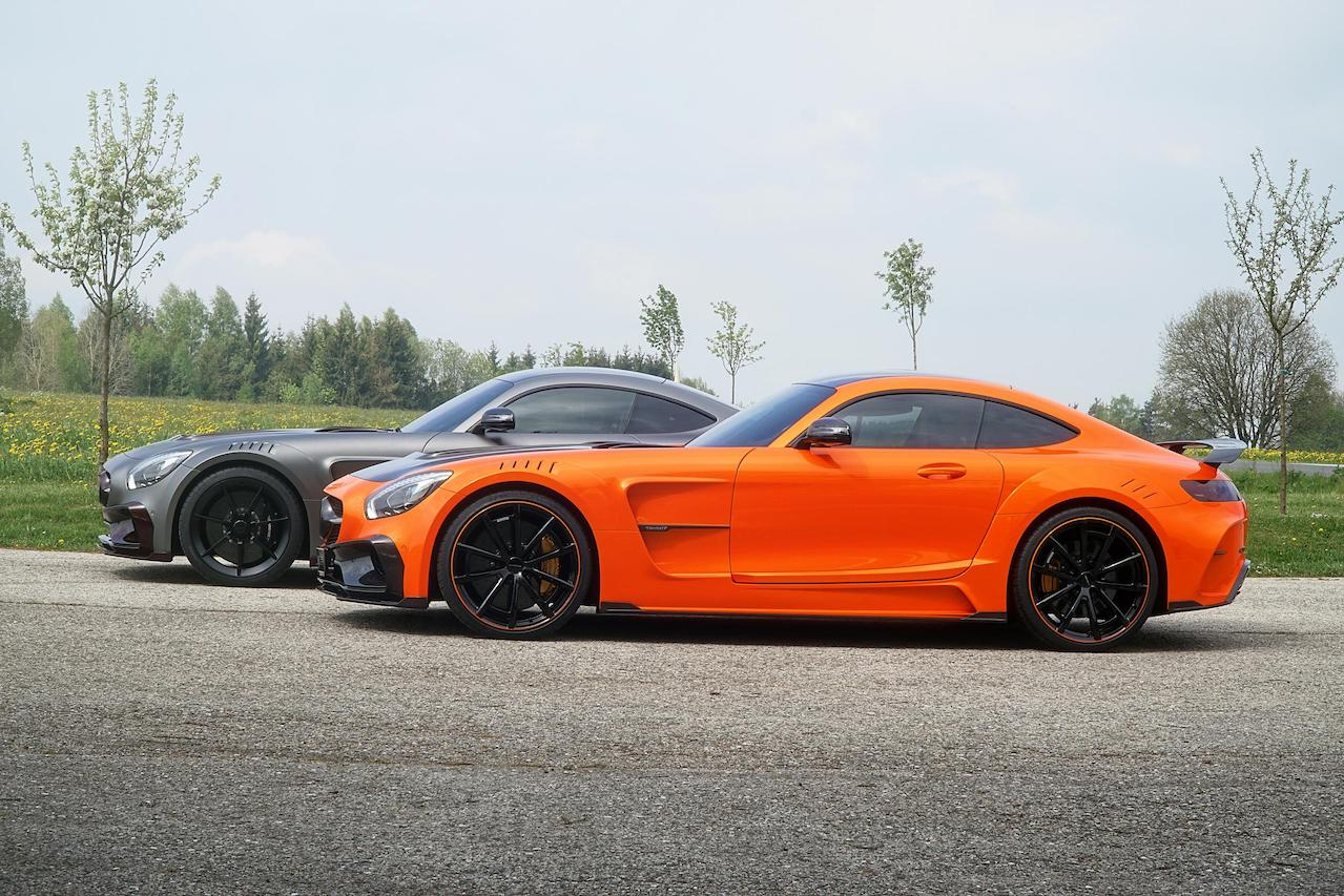mansory mercedes benz amg gts wide body kit carbon fiber wide over fender side skirt spider wheel rim orange grey