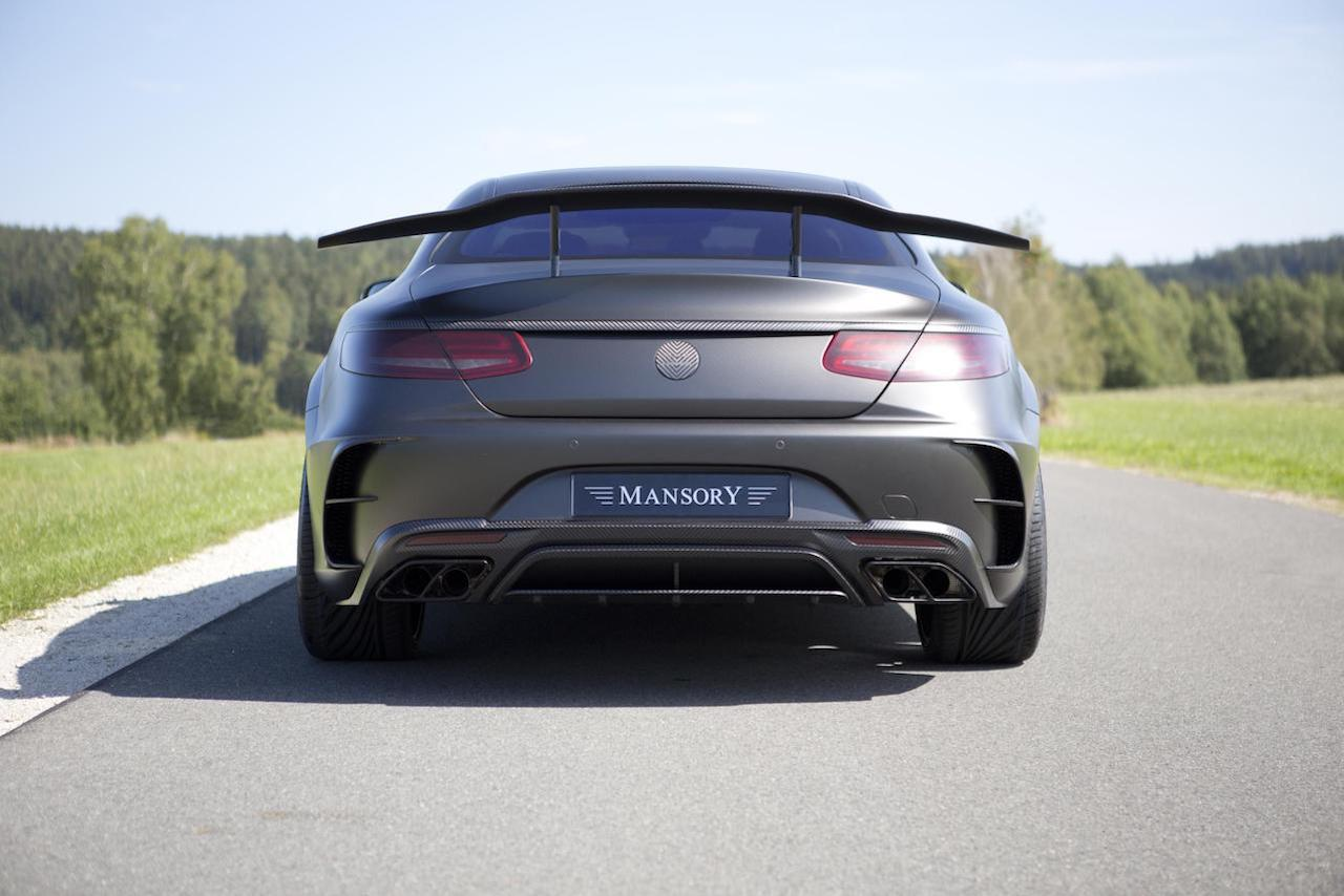 mansory mercedes benz c217 s class coupe s65 s63 s550 black edition wide body kit carbon fiber rear bumper diffuser exhaust system trunk wing spoiler