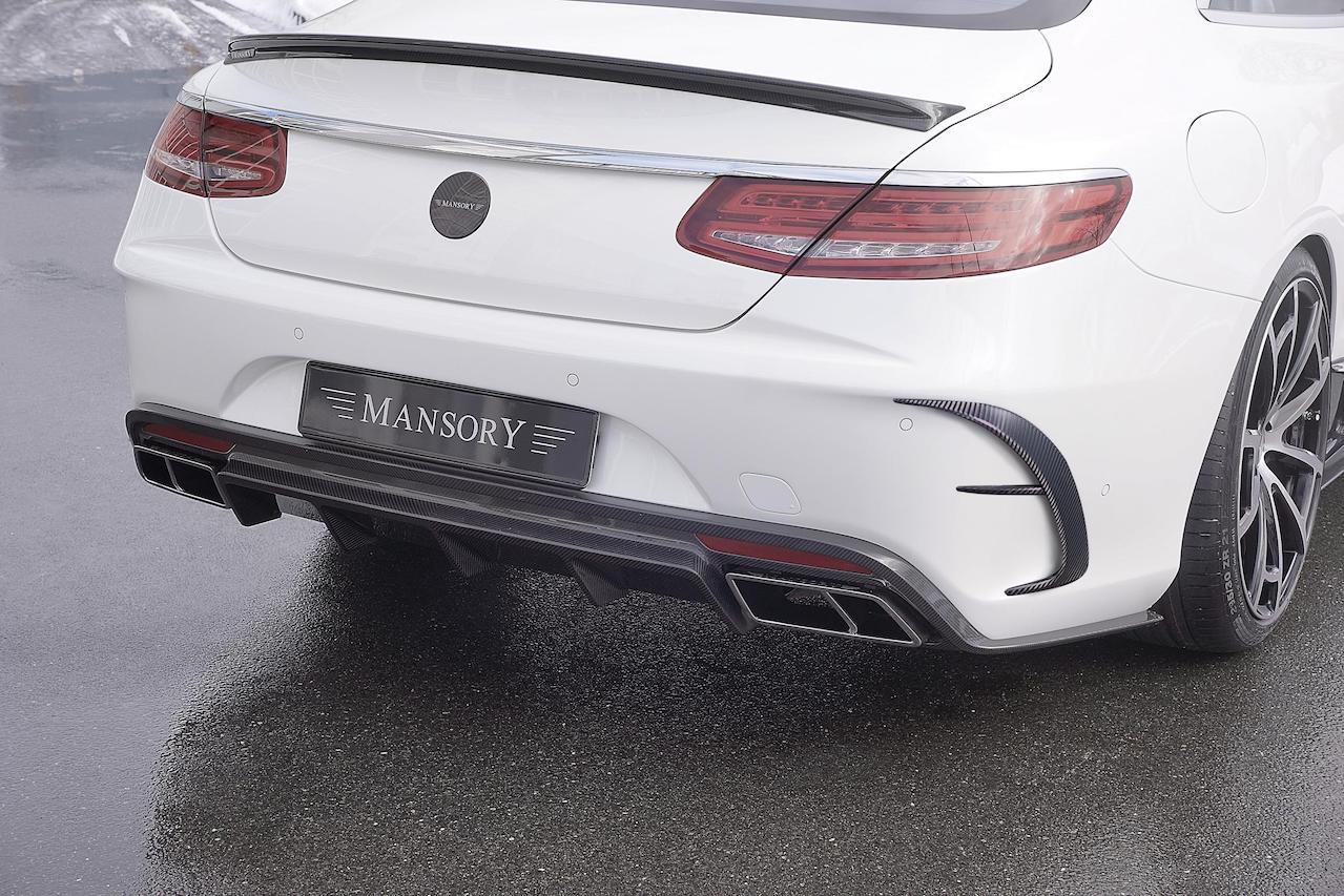 mansory mercedes benz c217 s class s65 s63 s550 soft body kit carbon fiber rear bumper diffuser exhaust system trunk lip outtake