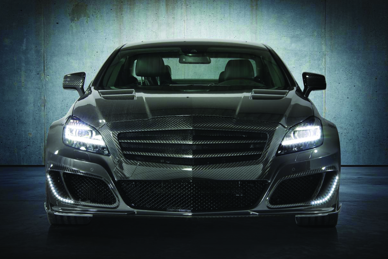 mansory mercedes benz c218 cls class cls63 cls550 wide body kit carbon fiber front bumper grill hood