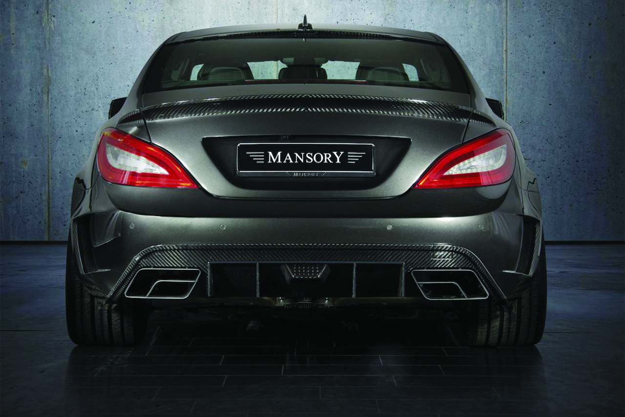 mansory mercedes benz c218 cls class cls63 cls550 wide body kit carbon fiber rear bumper diffuser exhaust system trunk wing spoiler