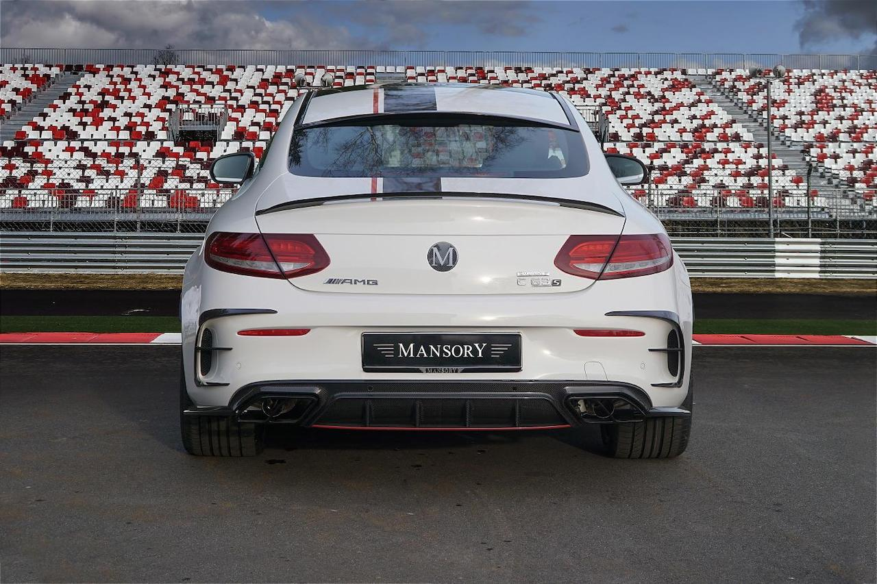 mansory mercedes benz c63 body kit carbon fiber rear bumper diffuser outtake exhaust system tip trunk wing spoiler roof wing