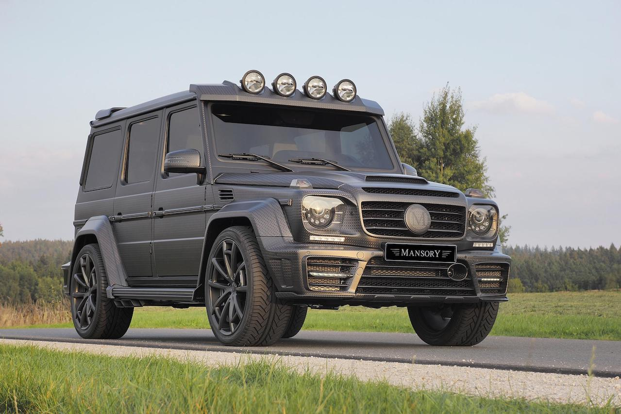 mansory mercedes benz g63 g65 g550 g500 w463 gronos black editon wide body carbon fiber front end cs.5 wheel rim front angle