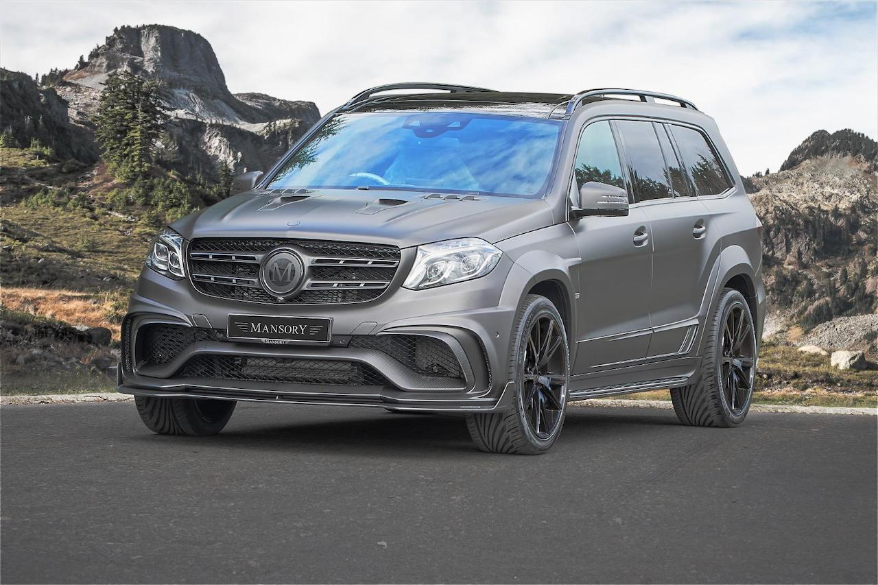 mansory mercedes benz gls amg 63 wide body kit carbon fiber front bumper lip spoiler splitter hood over fender side skirt y.5 wheel rim