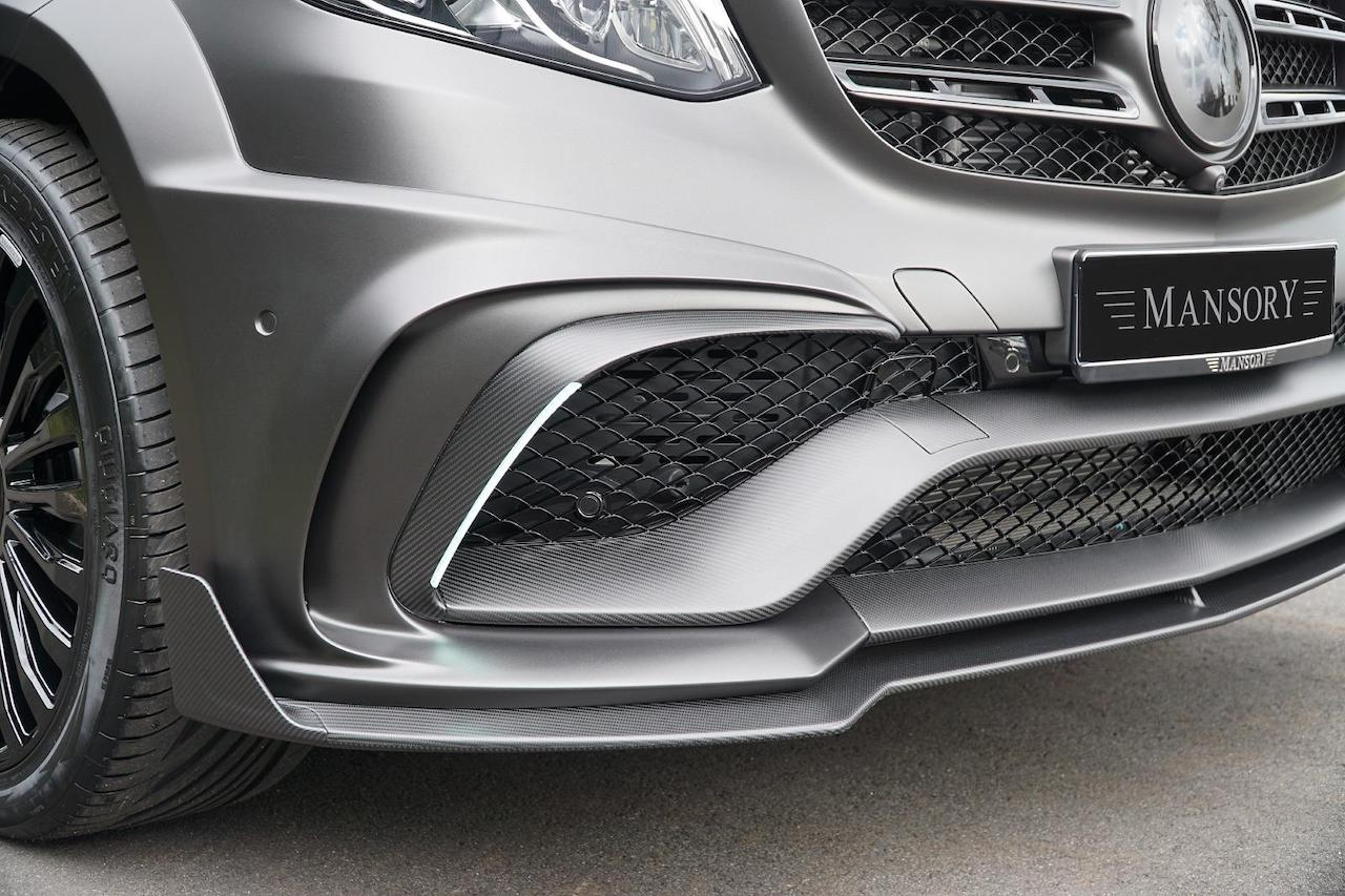 mansory mercedes benz gls amg 63 wide body kit carbon fiber front bumper lip spoiler splitter led drl