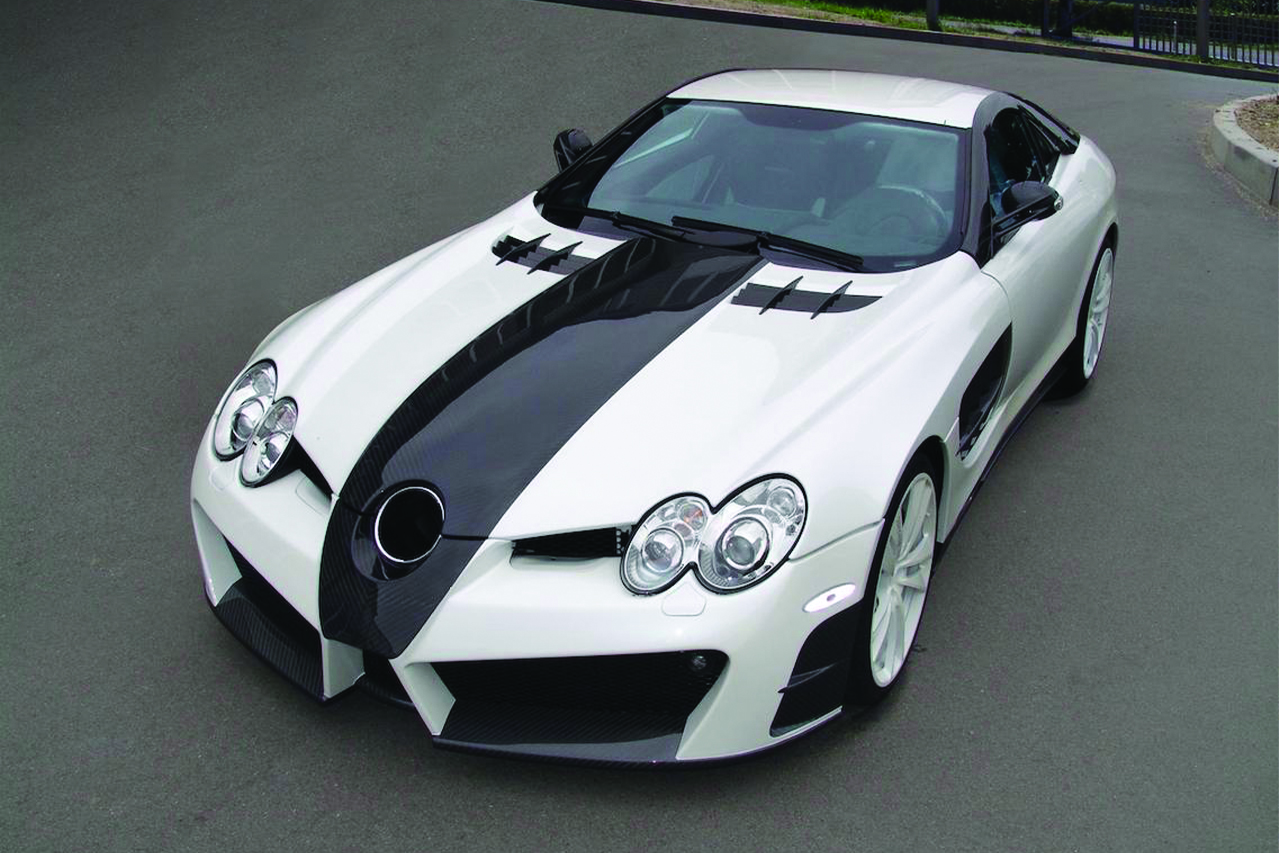 mansory mercedes benz slr renovatio carbon fiber wide body front angle front bumper hood fender mirror