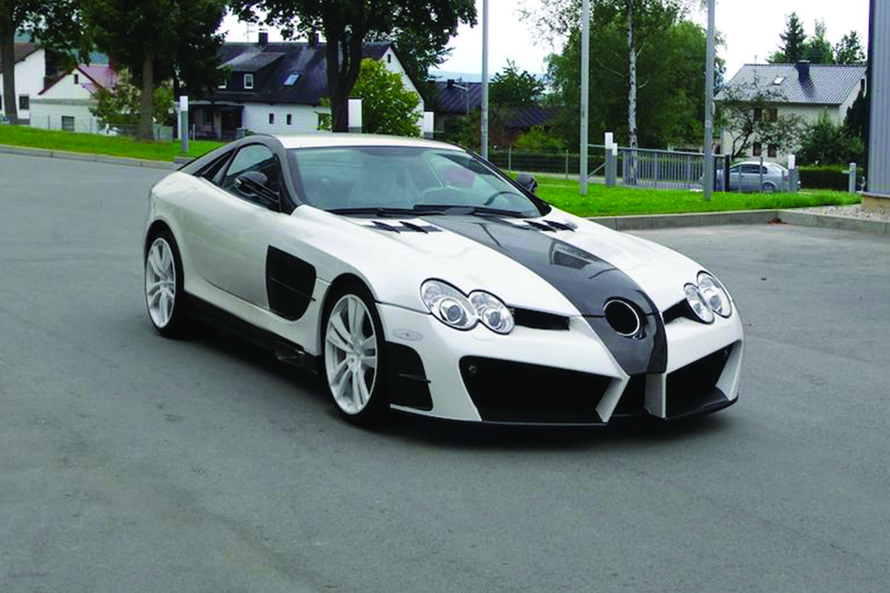 mansory mercedes benz slr renovatio carbon fiber wide body front bumper hood fender side skirt angle